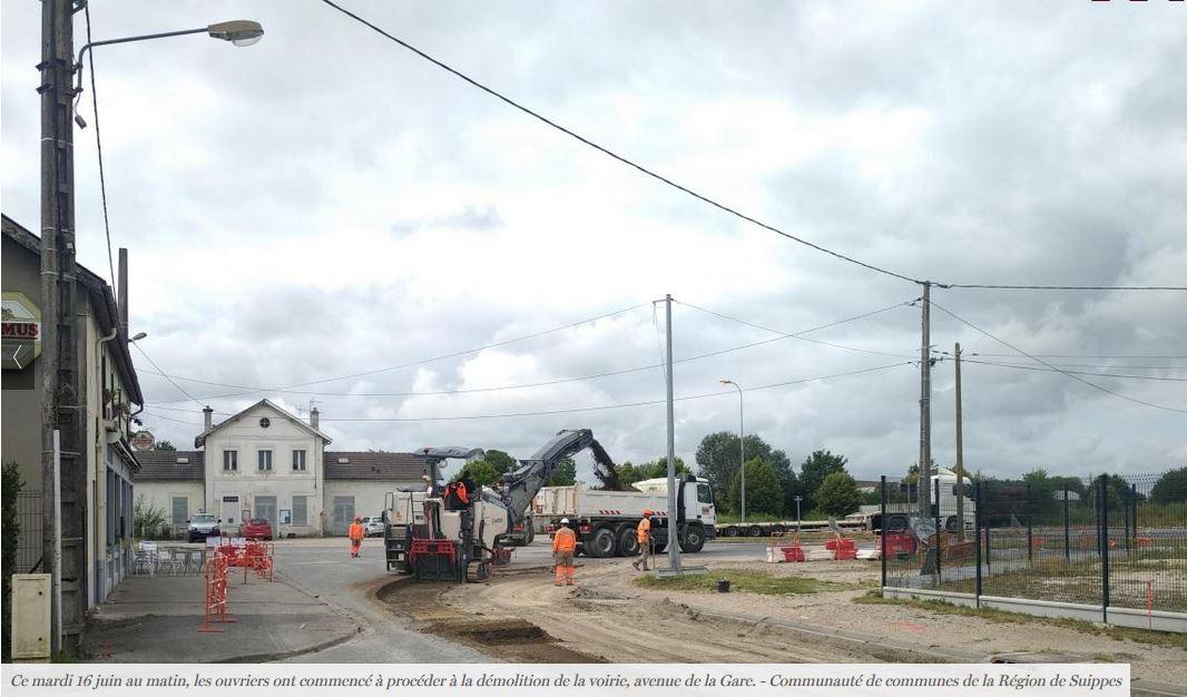 Actualité : Aménagement de l'Avenue de la Gare - Photo des travaux